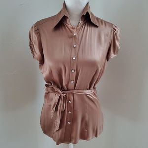 Bebe Silk Button Down Shirt Rhinestone Buttons